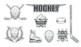 套曲棍球使用的不同的元素 曲棍球盔甲 专家滑冰例证 有曲棍球盔甲的头骨 向量例证