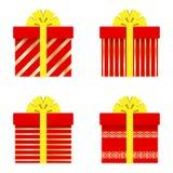 套有丝带、弓、金条纹、圈子和星的礼物盒 也corel凹道例证向量 皇族释放例证
