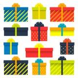 套有丝带的,弓,条纹礼物盒 也corel凹道例证向量 向量例证