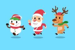 套有他的朋友驯鹿和雪人的愉快的圣诞节伴侣圣诞老人 库存图片