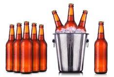 套有冷淡的下落的啤酒瓶在冰 库存图片
