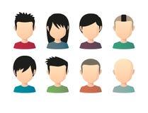 套有各种各样的发型的亚裔男性匿名的具体化 库存照片