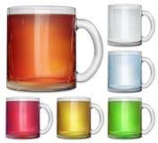 套有多彩多姿的饮料的不透明的玻璃杯子 库存例证