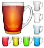 套有多彩多姿的饮料的不透明的玻璃杯子 皇族释放例证