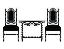 套有富有的装饰品的经典家具 免版税库存照片