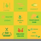 套有机和自然食物的商标 免版税库存图片