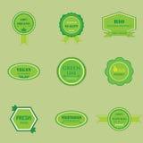 套有机和自然食物的标签 免版税图库摄影