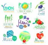套有机食品和菜单商标、徽章和设计元素 图库摄影