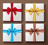 套有样式的现实3D五颜六色的礼物盒 免版税库存图片
