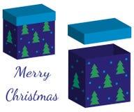套有盒盖的现实箱子在白色背景的礼物的 3d设计的例证圣诞节和新年 皇族释放例证