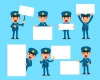 套有空白的白色横幅的警察 免版税库存照片