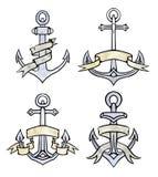 套有纸丝带的葡萄酒多彩多姿的水彩船锚 皇族释放例证