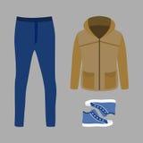 套有附头巾皮外衣、牛仔裤和运动鞋的时髦人的衣裳 免版税库存照片