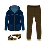 套有附头巾皮外衣、牛仔裤和运动鞋的时髦人的衣裳 库存照片