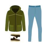 套有附头巾皮外衣、牛仔裤和运动鞋的时髦人的衣裳 Men 库存图片