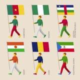套有非洲国家旗子的简单的平的人  库存照片