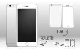 套有黑屏的白色流动智能手机在白色背景,肩并肩 现实,舱内甲板和象 免版税库存图片