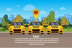套有Gps地点尖网上小室服务概念的黄色出租汽车汽车 库存例证