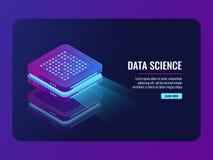 套服务器室象、数据中心和数据库, prcessing未来派的数据,云彩存贮 库存照片