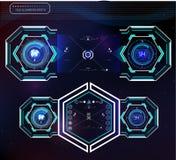 套未来派蓝色infographics作为平视显示的显示 显示网和app的航海元素 库存照片
