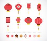 套朱红色的灯笼和元素 皇族释放例证