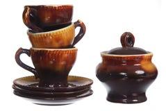 套杯子和sugarbowl 免版税库存图片