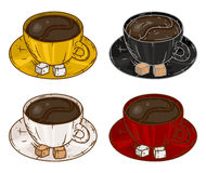 套杯子用咖啡 也corel凹道例证向量 免版税库存图片