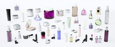 套构成产品和每日,秀丽关心化妆孤立 免版税图库摄影