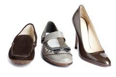 套标准妇女的鞋子没有名字 免版税库存照片