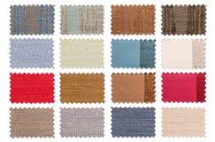 套样品编结在白色背景隔绝的颜色织品 库存图片