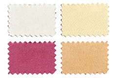 套样品编结在白色隔绝的颜色织品 免版税库存照片