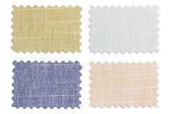 套样品编结在白色隔绝的颜色织品 库存图片