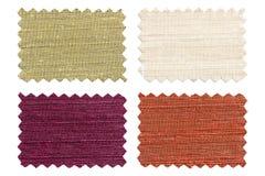 套样品编结在白色隔绝的颜色织品 库存照片