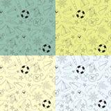 套样式海上旅行 不同的背景颜色的四次乱画样式 免版税库存图片