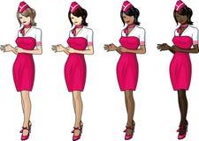 套桃红色的4位空中小姐 免版税库存照片