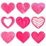 套桃红色水彩心脏 库存照片