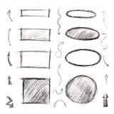套框架、箭头和标志画与铅笔 黑色和 免版税库存照片