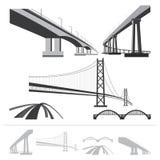 套桥梁,向量剪影收集 免版税库存照片