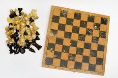 套棋子和棋枰 免版税库存照片