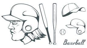套棒球运动员设计元素 手拉的棒球球 动画片棒球盔甲 手拉的人头 棒球棒查出的白色 库存照片