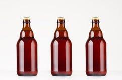 套棕色steinie比利时啤酒瓶330ml嘲笑 免版税库存照片
