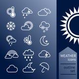 套概述天气象 免版税库存照片