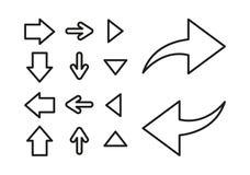 套概述箭头 正确,左,在和在白色背景的箭头下 查出的向量例证 皇族释放例证