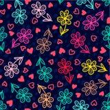 套横幅五颜六色的花卉无缝的样式 库存图片