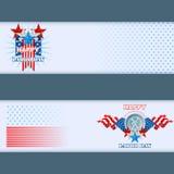 套横幅设计与星和国旗颜色美国人的劳动节 库存图片
