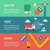 套横幅,包括旅行、教育和银行业务 库存图片