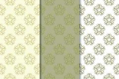 套橄榄绿花卉背景 仿造无缝 免版税库存图片