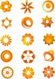 套橙色图标和徽标 库存例证