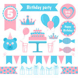 套欢乐生日聚会元素 平的设计 免版税库存照片