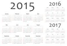 套欧洲人2015年2016年, 2017年传染媒介日历 免版税库存图片
